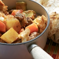 lamb and vegetable stew with arabic flatbread - thareed