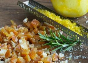 Candied Orange Peel, Rosmary and Lemon Zest