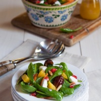 Baby Spinach Salad with Dates, Oranges, Pomegranate and Feta Cheese with a Spiced Citrus Dressing