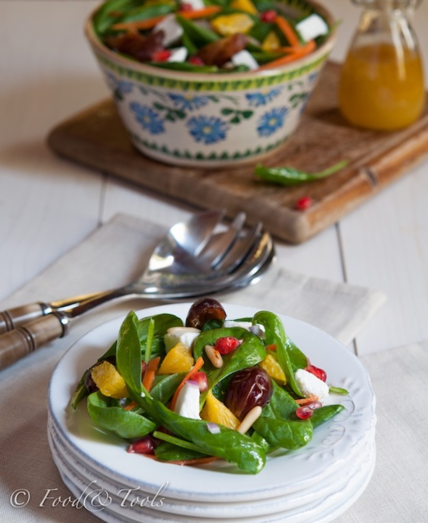 Spinach Salad, Dates With Citrus Dressing