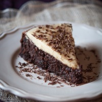 Chocolate Date Cake with Tahini and White Chocolate