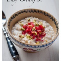 Oat Porridge with Coconut Milk, Raspberries and Pistachios