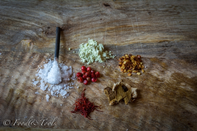Sea Salt with Chilli, Pink Pepper, Saffron, Wasabi and Dried Mushroon