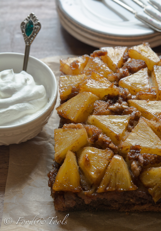 Fresh Pineapple Upside Down Cake with Whipped Cream