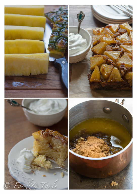 Collage of Images Fresh Pineapple Upside Down Cake