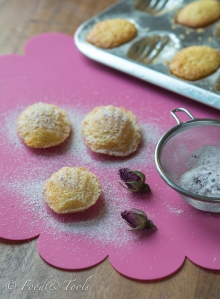 Madeleines dusted with Rose Petal Sugar