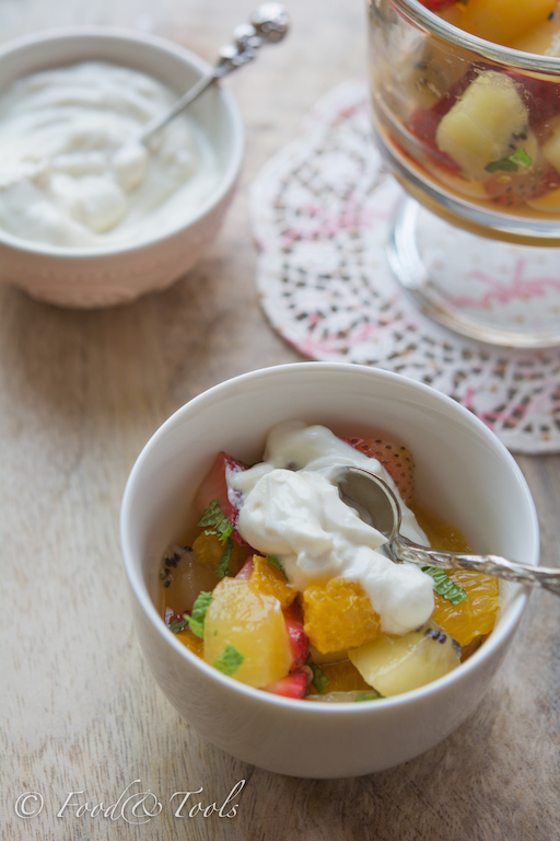 Summer Fruit Salad with Rose Perfumed Yoghurt