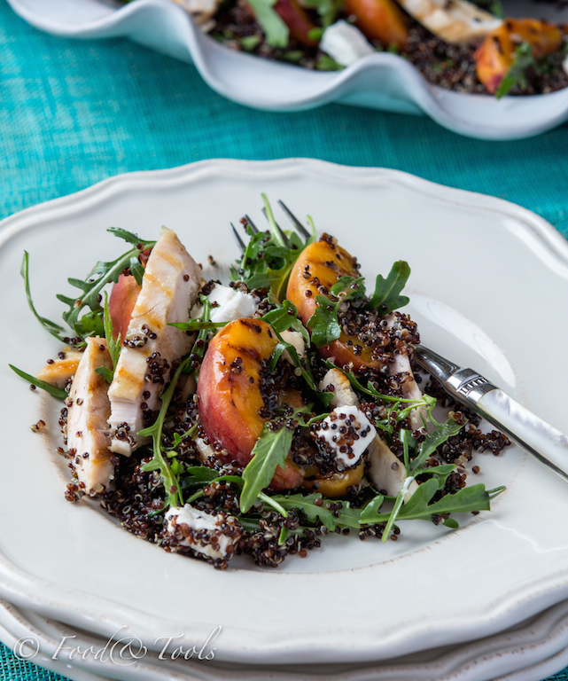 Black Quiona Salad with Grilled Peaches and  Chicken-7093-2