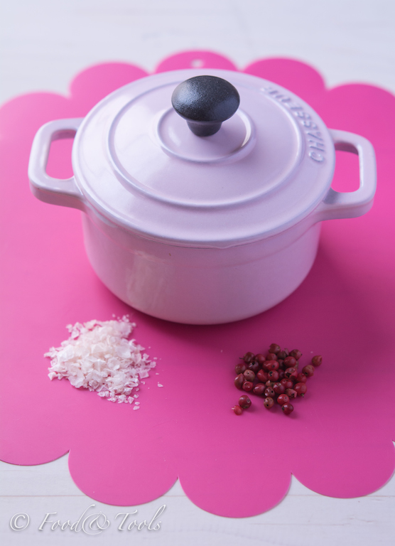 mini pink dutch oven pink peppercorns and pink Murray River Salt