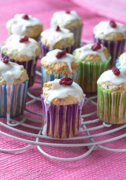 Lemon Yogurt Muffins with Poppy Seeds and Dried Cranberries