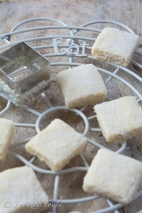 Shortbread on a wire cooling rack