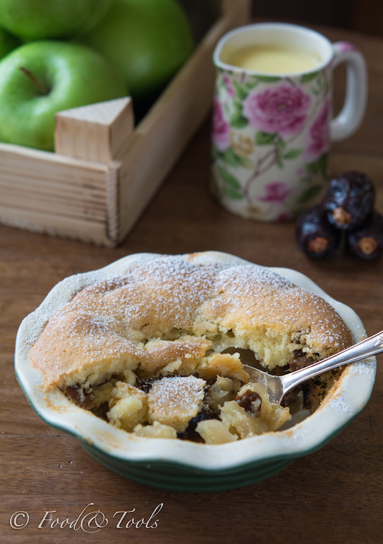 Apple Pudding/Eves Pudding with Dates and Custard