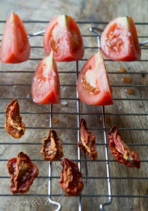 Oven Dried Tomatoes on a cooling rack