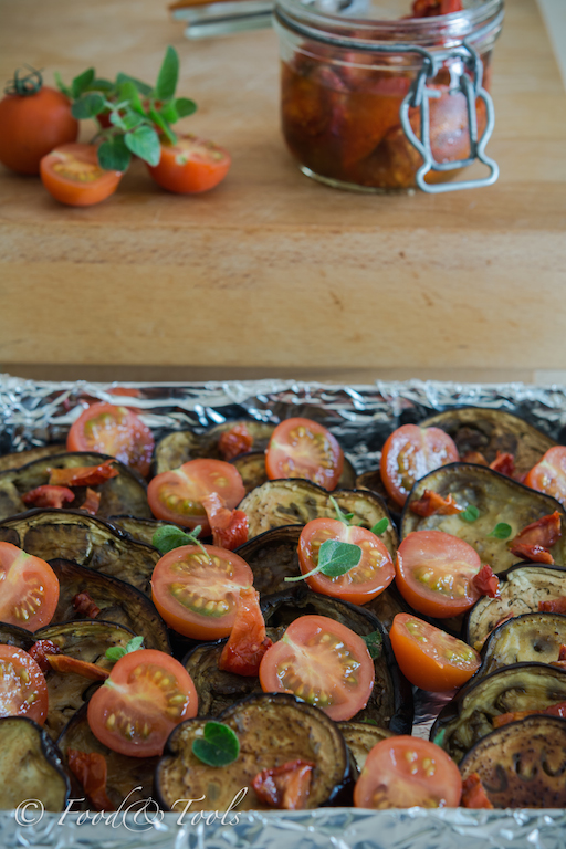 Aubergine Tomatoes and Dried Tomatoes in Olive Oil