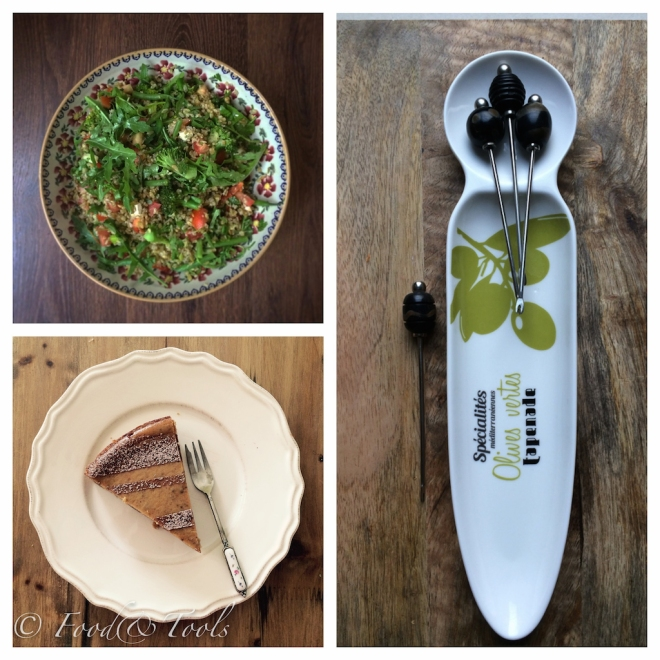 Bowl with Salad, Slice of Date Cheesecake, Olive Dish with Olive Picks