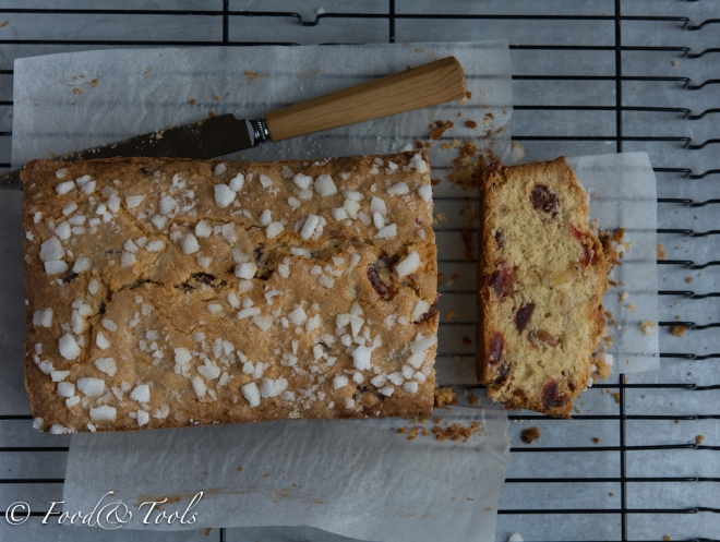 Sugar Crusted Cherry and Pine Nut Loaf Cake