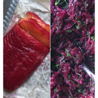 Beetroot-Cured Salmon Canapés