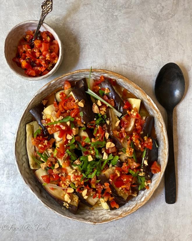 Steamed Eggplant, Charred Chile Salsa