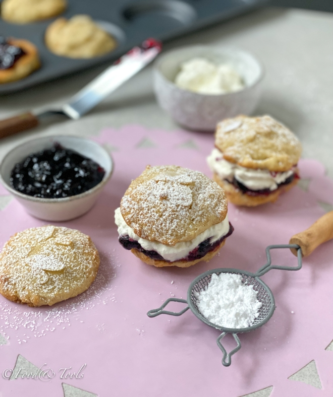 Whoopie Pies filled with fresh cream and blackcurrant preserve